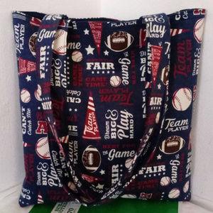 Handmade Bags - Play Baseball Blue Flannel Tote